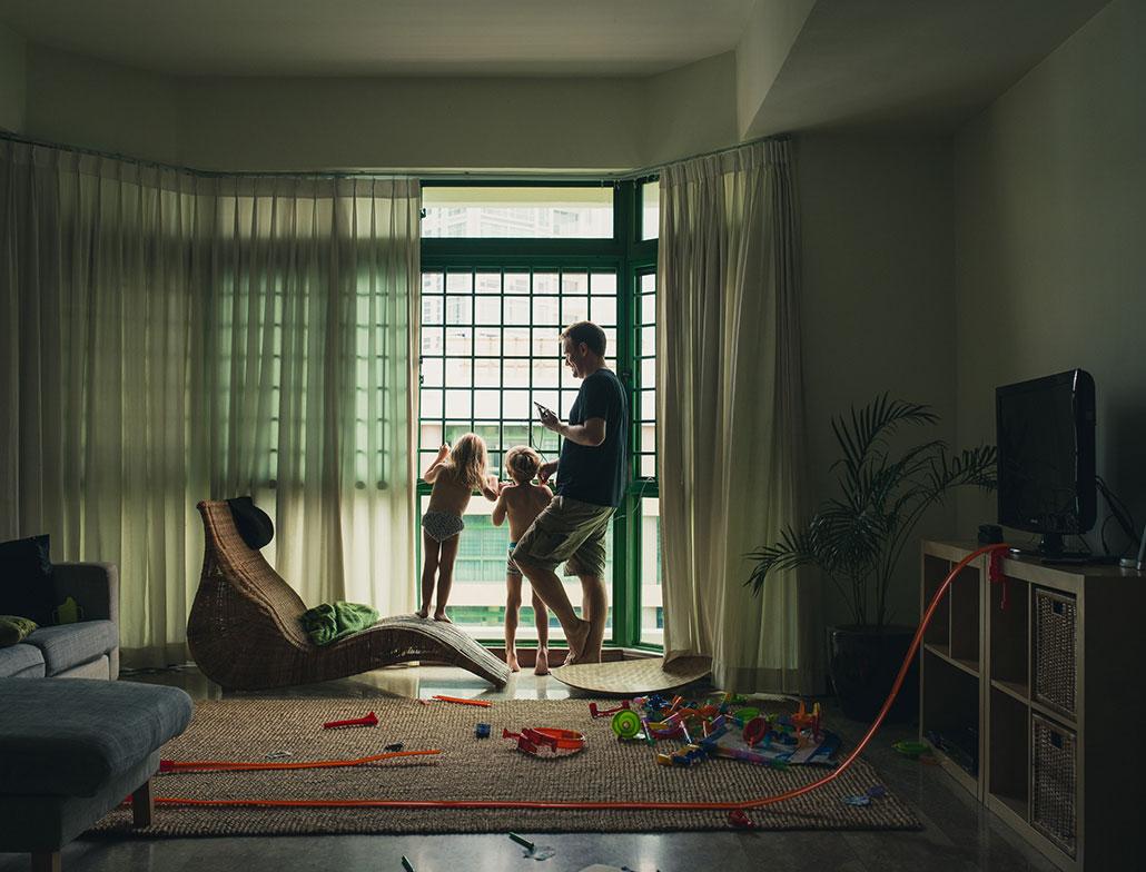 Kids in Singapore apartment
